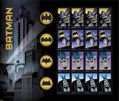 Set Estampillas Postales Batman 75 Anniversary Usps Ugo 0