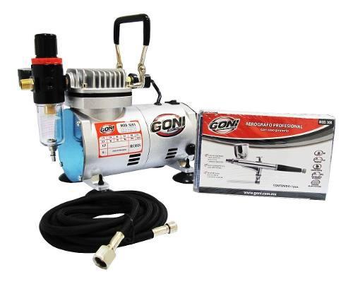 Kit Aerografia, Aerografo Profesional + Compresor 9201 Goni 0