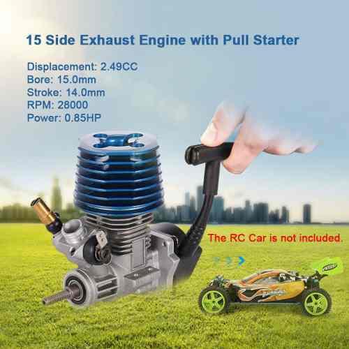 Mano Pull Arrancador Motor 2.49cc 15 Escape Lado Para 1/8 1/ 0