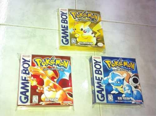3 Cajas Custom Para Juegos Pokemon Red + Yellow + Blue 0