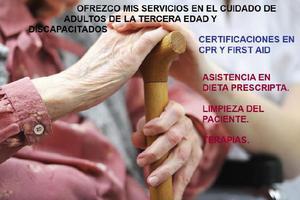 Ofrezco mis servicios en el cuidado de adultos y