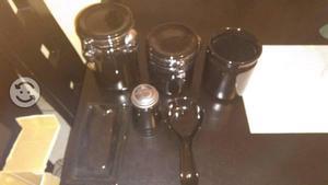 Set marca oggi cerámica 7 piezas negras 3 dañadas