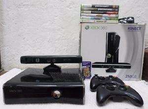 Xbox 360 kinect, 250gb, 5 juegos, 2 controles, kit carga y