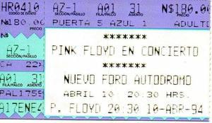 Pink floyd en méxico 1994 - boleto y playera