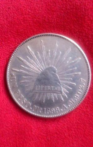 Moneda de plata porfiriana siglo xix 1898 peso fuerte