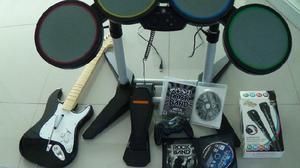 Rock band ps2 y ps3, batería, guitarra, microfonos, etc