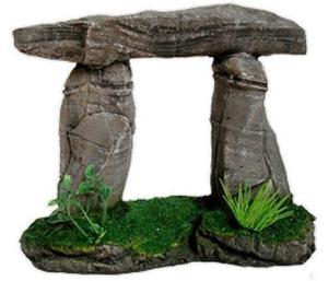 adorno para pecera piedras con techo y plantas