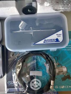 Kit 3 aerografos profesional compresor master rudo