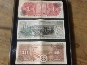 Tres billetes antiguos de coleccion