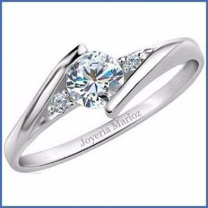 Anillo compromiso 14k blanco diamant forever brilliant.35ct
