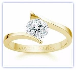 Anillo compromiso oro 14kt diamante ruso envio gratis