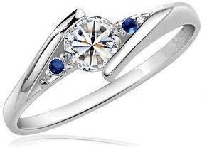 Anillo compromiso oro 18k diamante natural y zafiros.18ct