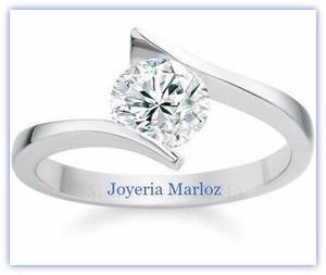 85cd2bb7f695 Anillo compromiso oro blanco 14kt diamante ruso s4-14-cz en México ...
