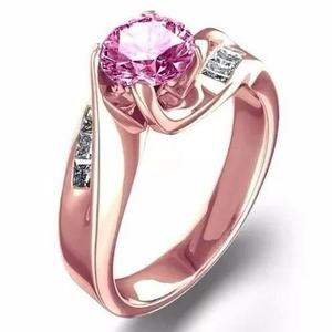 Anillo compromiso oro rosa 10kt zafiro rosa corindon marloz