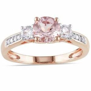 Anillo compromiso oro rosa 10kt zafiro rosa + promoción