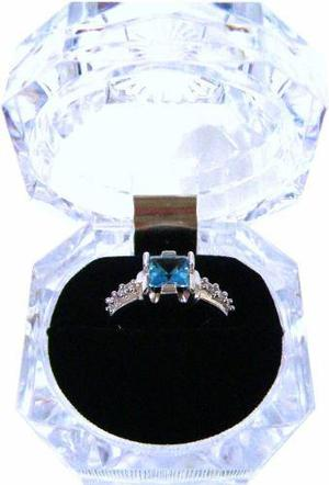 Anillo compromiso topacio azul natural princess 6mm ag 925