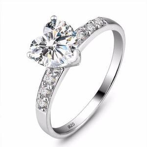 c0735e80b7fe Anillo corazon compromiso promesa boda plata 925 zirconia