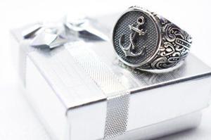 Anillo de ancla plata ley.925 joyeria de moda plata maciza.