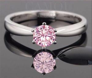 440da99dd490 Anillo de compromiso plata y oro 24k diamante rosa
