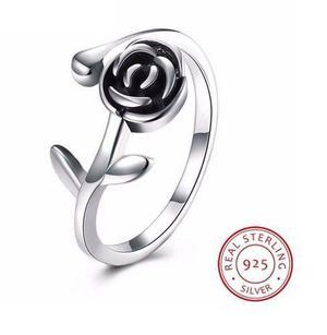 Anillo de flor en plata ley.925 ajustable todas tallas amor