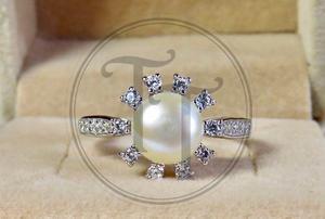 2eff7259c4b9 Anillo perla natural plata esterlina 925 zirconia 0.9 ct   7