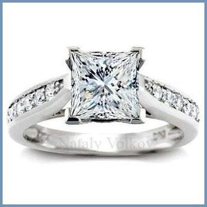 Goldcash.- princess anillo de compromiso oro blanco 14k
