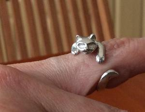 Plata ley 925 resistente anillo gato realista ajustable