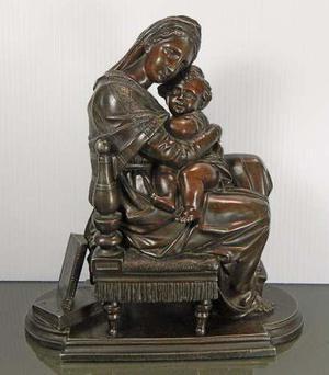 Antigua estatua francesa calamina virgen de la silla