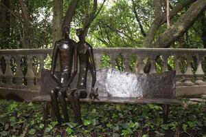 Escultura De Bronce Para Jardin Banca Con Pareja,original