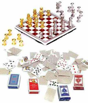 Set de poker y ajedrez miniatura para casa muñecas e 1:12