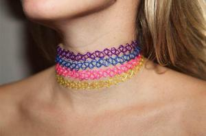 Chokers de colores moda japonesa collar pulsera y anillo