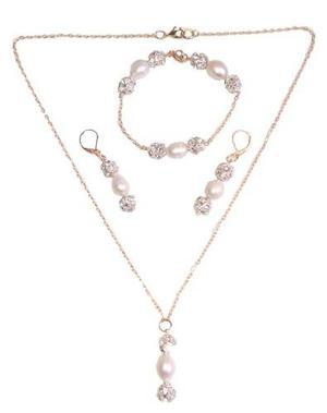 383bb4ff6f44 Collar aretes y pulsera chapa de oro y perlas cultivadas a02
