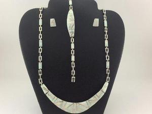 cb6788737768 J11 juego collar pulsera aretes de plata925 con piedra opalo en ...