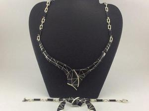 4f38da587f92 J5 taxco juego collar pulsera aretes de plata 925 con piedra en ...