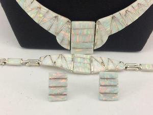 5334738c45ea J7 juego collar pulsera aretes de plata 925 con piedra opalo en ...