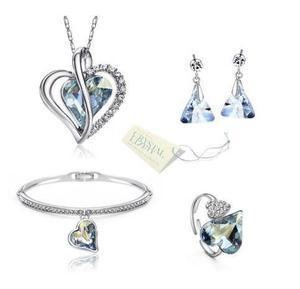 Muy completo! set swarovski collar, aretes, pulsera y anillo