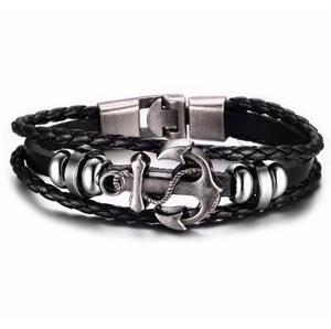 3137f7b6e27c Pulsera ancla cuero negro acero caballero moda fashion
