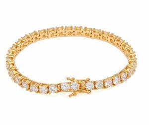 Pulsera diamantada tennis chain oro laminado 18k hip hop