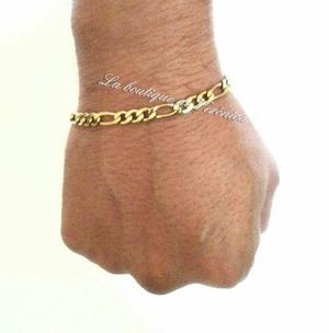 Pulsera esclava acero inoxidable dorado eslabón figaro 5 mm