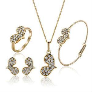 4fe4a0b9b26d Set collar anillo pulsera aretes para niña acero inoxidable