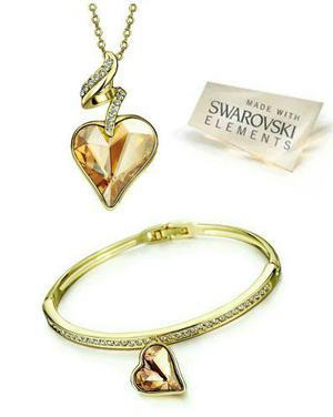 12f252e5207f Set collar y pulsera corazón cristal swarovski elements
