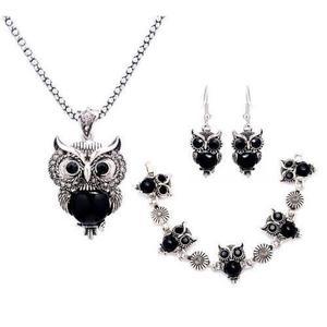 Set joyería collar + aretes + pulsera buhos, negro, regalo