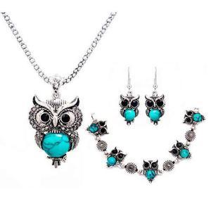 Set joyería collar + aretes + pulsera buhos, verde, regalo