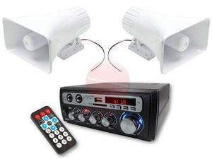 Sistema de perifoneo amplificador + 2 trompetas auto y casa