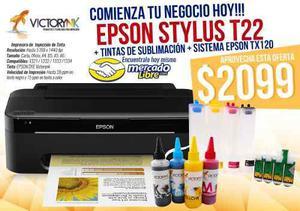 Impresora epson stylus t22+cartucho relle+ tinta sublimacion
