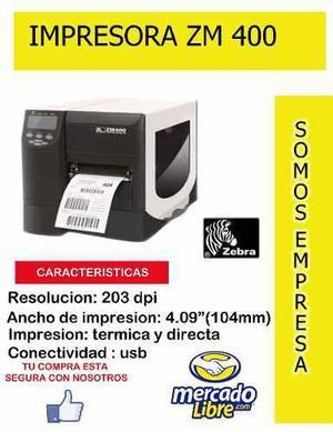 Impresora termica zebra zm400