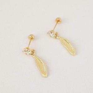 61b63956c0af Aretes broquel de pluma colgante para mujer oro solido 10k