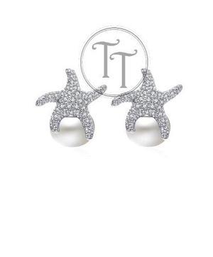 4b9178612ee3 Aretes estrella de mar perla natural plata esterlina 925 en México ...