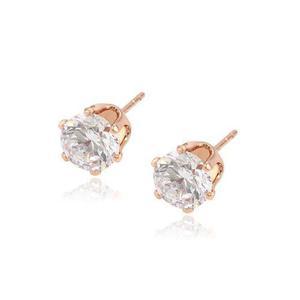1a16d8ded8aa Broqueles de oro rosa 14k lam con zirconias corte diamante