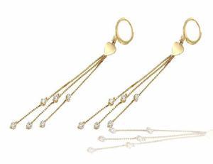 9af95ee38199 Aretes colgantes con circonias oro 14 k + obsequio